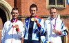 Braldey Wiggins poses with Tony Martin and Chris Froome in Hampton Court Palace
