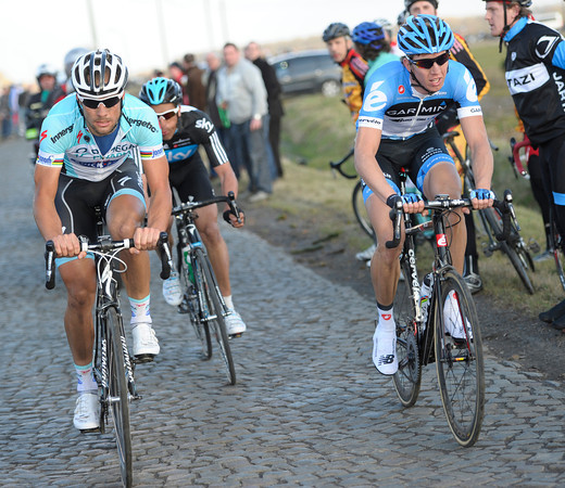 Boonen, Flecha and Van Marcke are about to enter the last 10-kilometres together...