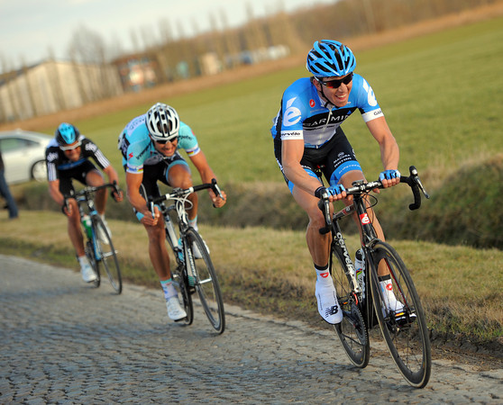 Van Marcke attacks on the cobbles with 15-kilometres to go...