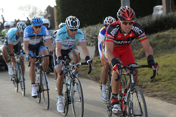 Thor Hushovd leads the winning escape of about seven riders...
