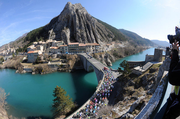 Picture perfect - the peloton leaves Sisteron on its way to Nice on the longest stage of Paris-Nice...