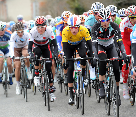 Andreas Kloden leads Wiggins and Van Garderen as the road starts to rise...