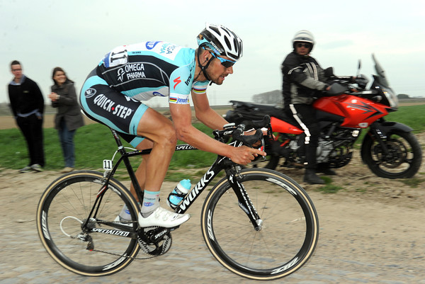 The master at work - Boonen in full flight at Bourghelles with just 20-kilometres to go...