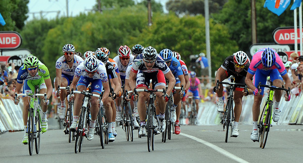 The sprint-finish shows Greipel against Petacchi against Hutarovich...