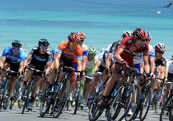 Ballan is protecting Kohler as the peloton swings off Aldinga for the last time...