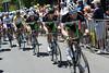 Luke Durbridge leads the Green Edge team as Willunga Hill starts...
