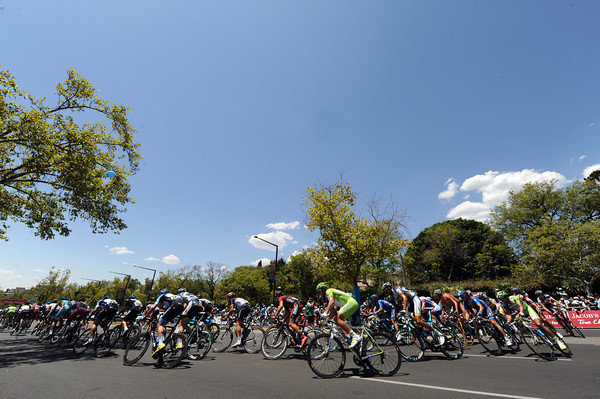 The peloton corners at the halfway mark of the 25-lap race...