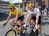 Cancellara chats with Boasson Hagen as the stage ambles through a flat part of the Ardennes...
