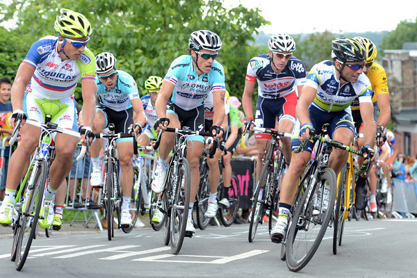 Michele Albasini leads the first group on to the final ascent to the finish - he has Sagan, Chavanel and Cancellara watching him...