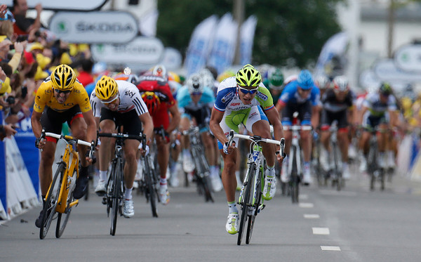 Peter Sagan is many lengths ahead of Cancellara in the uphill sprint...