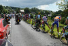 Alnost half the peloton takes a nature-stop as the escape regains its original four minute lead...