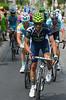 Alejandro Valverde leads a split in the escape as it starts the Col de la Croix-de-Fer, but some of the original escape will re-form...