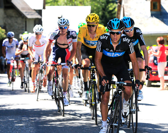 Richie Porte leads Team Sky as the climb to the Col du Tourmalet begins - the time-gap is creeping wider all the time...