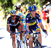 Chris Anker Sorensen continues to chase Vockler and Feillu with Voigt and Vinokourov...