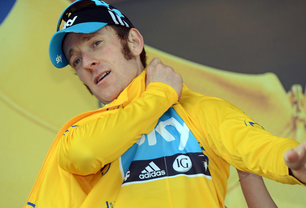 Bradley Wiggins shows the first signs of relief on his face as he celebrates his stage-win and a virtual victory in the Tour...