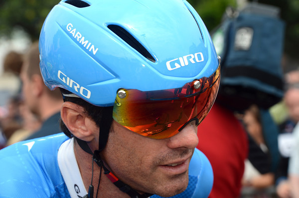 Today's anti-crash headwear is being modelled by Garmin's David Millar...