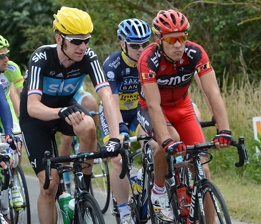 Bradley Wiggins and Phulippe Gilbert discuss life as the peloton rolls along about eight minutes behind the escape...