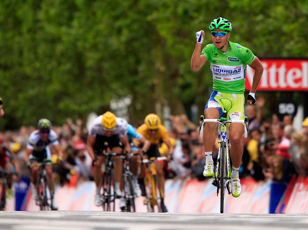 Peter Sagan wins stage three after Chavanel was caught and a crash delayed some of the favourites...