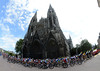 The peloton leaves Rouen, passing right in front of its stunning cathedral...