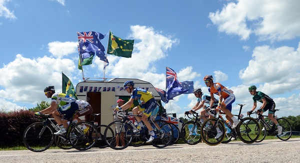 Green Edge's Albasini takes the escape past an Australian fan's camper-van at the side of the road...