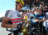 Edvald Boasson Hagen signs autographs for some Norwegian fans at the start...