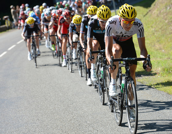 Boasson Hagen is setting the pace now, the escape is over but the first battle of this Tour is about to begin...