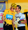 Bradley Wiggins and Mark Cavendish share a joke as Team Sky is presented before the start...