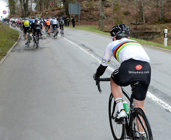 Cavendish has been dropped on the climb, but just within sight of the summit...