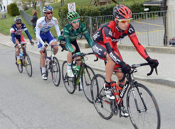 Martin Kohler leads a four-man escape in the early minutes of the stage...