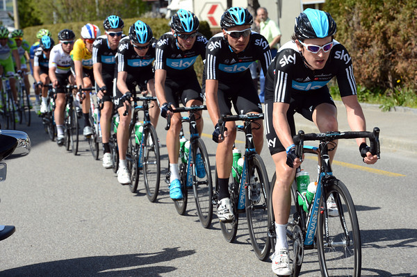 Led by Geraint Thomas, Team Sky leads the peloton in steady pursuit of the escape...