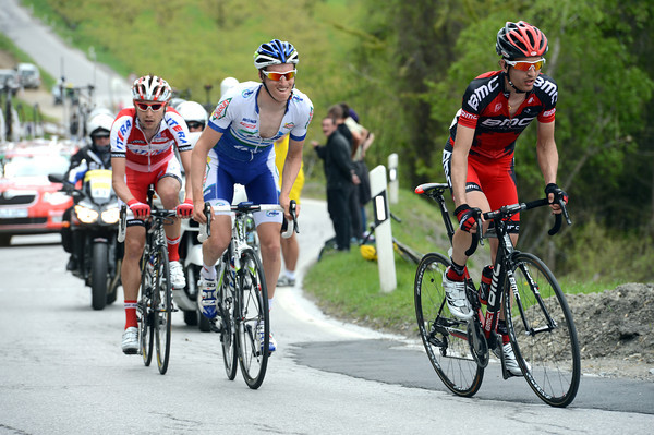Tschopp, Lavarlet and Ignatenko have pulled away on the climb to Veysonnaz...