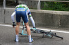 Sergei Lagutin has crashed on slick roads as the race leaves town at full speed - a bigger crash takes down Leipheimer and Duggan a short while later...
