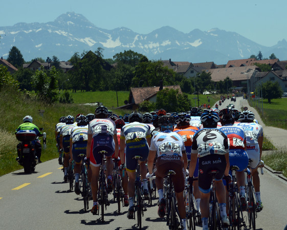 The peloton has an Alpine horizon to remind them of the rigours ahead today...