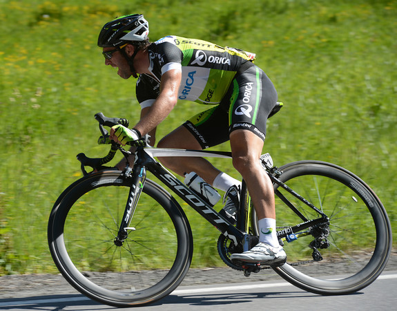 Albasini has flown away from Velits with about 15-kilometres left to race...