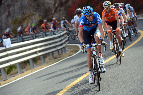 Ryder Hesjedal has attacked from the leading group that has now caught the original escape...
