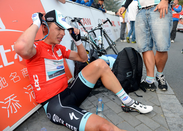 Tony Martin prepares himself for a podium visit - he's still race-leader but it hurt a little today..!