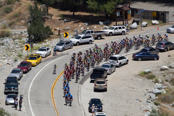 Garmin are on the front for their team and race leader, but the gap is already at a minute.
