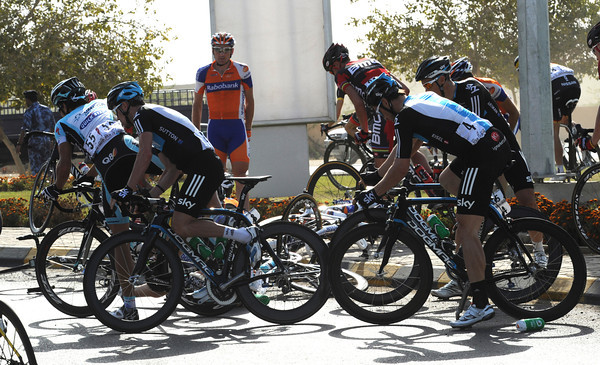 There's been a crash on a big roundabout - the only real corner in the day's 159-kilometres..!