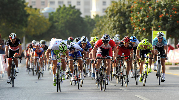 Sagan still has enough power left to lead out the final sprint against Greipel...