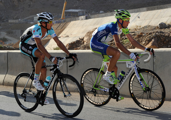 Vincenzo Nibali and Peter Velits make a move themselves...