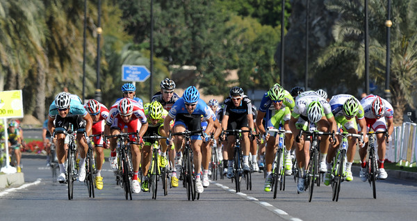 There's no sign of Mark Cavendish in the hectic sprint-finish...