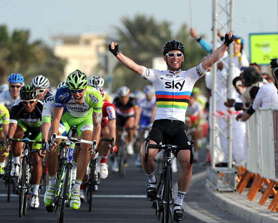 Mark Cavendish wins stage five into Al Khor - he wins by quite a few bike-lengths as well..!