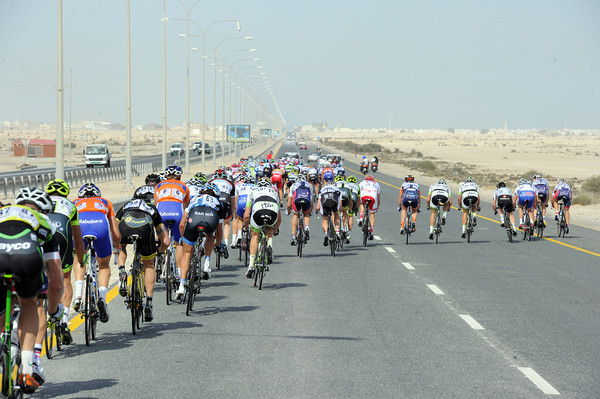 The pace has shot up again on the outskirts of Doha...