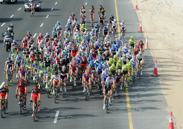 The peloton has virtually re-formed with about 40-kilometres to go...