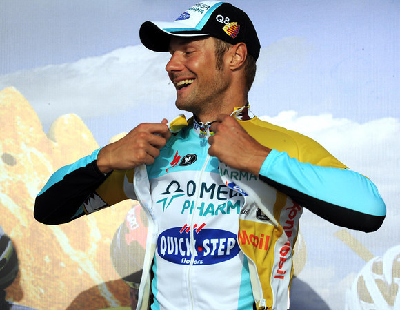 Tom Boonen celebrates as he puts the leader's jersey on - the Tour of Qatar is one of his favourite playgrounds..!