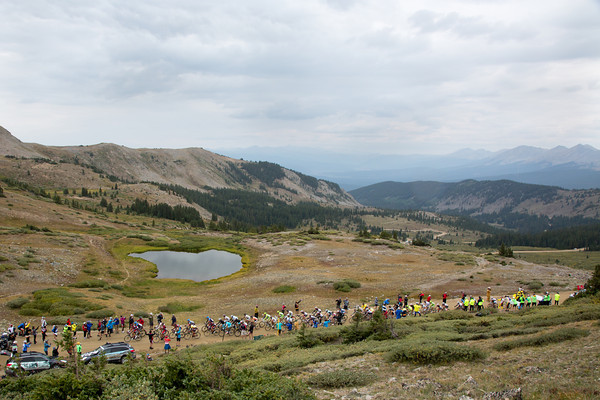 As they crest the summit of Cottonwood Pass, there are only 8 or so riders left from the escape.