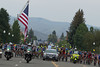 The peloton rolls out for the start of stage three from Gunnison...