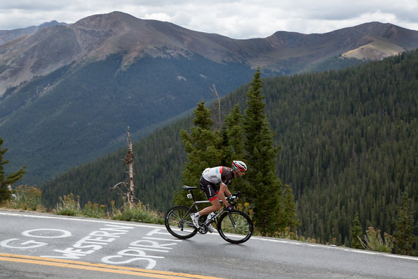 After cresting Independence Pass - he is attacking the descent full gas!