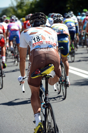Time for Christophe Riblon to get his legs stretched behind the peloton...