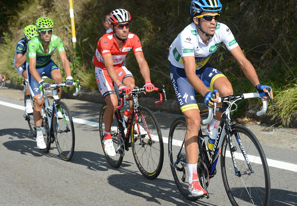 Contador, Rodriguez and Valverde look comfortable enough in their leader's jerseys...
